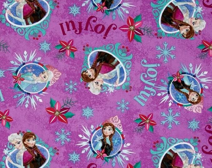 Springs Creative - Christmas Disney Frozen Sisters Merry & Joyful Purple - Cotton Woven Fabric