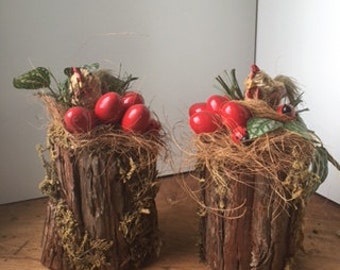 Easter Table Decor with Tree Stump and Red Eggs