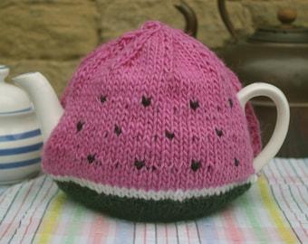 Watermelon Tea Cosy/Cozy - Medium. Handmade natural fibre
