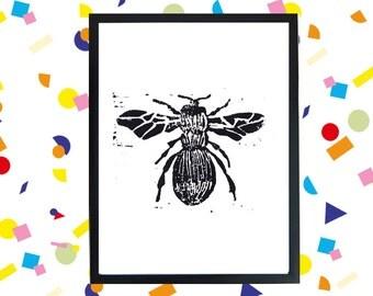 Lino print Bee  20 x 15 cm