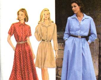 Simplicity 9866 Shirtwaist Button Up Dress Sewing Pattern New Uncut