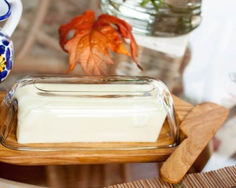 Wooden Butter Dish, Knife, Lid and Glass Top