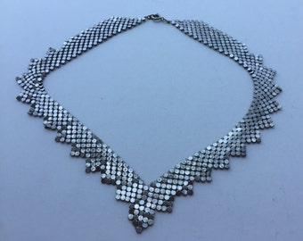 Vintage Necklace Maille Silver Mesh Metal Chain Maille  Ladies Jewelry