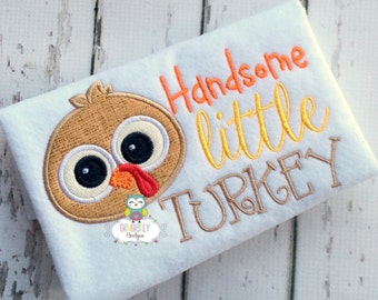 Handsome Little Turkey Thanksgiving Shirt, Boy Thanksgiving, Boy Turkey Shirt, Thanksgiving Shirt, Boy First Thanksgiving