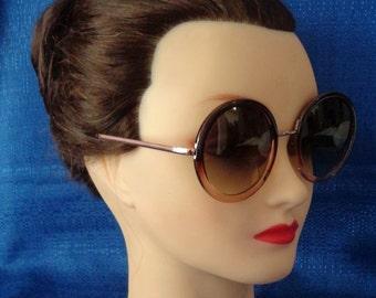 Ladies Vintage Round 2 - Tone Brown Sunglasses
