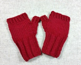 Organic Fingerless Gloves for Babies and Toddlers, red, 7 to 18 Months, pure Wool, Handknitted Wrist Warmers, Mittens