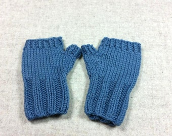 Organic Fingerless Gloves for Babies and Toddlers, steaal blue, 7 to 18 Months, pure Wool, Handknitted Wrist Warmers, Mittens