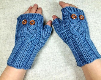 Organic Owls Fingerless Gloves for Kids 4 to 6 Years steel blue, handknitted Wrist Warmers, Mittens