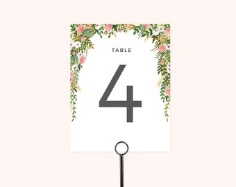 Elizabeth Collection - Wedding Table Number (Pack of Ten)