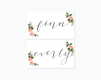 Blush and slate romantic floral wedding tented place cards - Pack of fifty