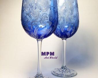 Blue Wine Glasses. Winter Frost Blue Silver Glasses. Winter Wedding Glasses. Blue Wedding. Blue Party. Frozen Wine Glasses. Christmas Gift.