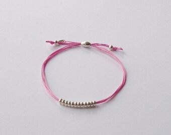Cord friendship bracelet,silk friendship bracelet, friendship bracelet, cord bracelet, stacking bracelet, pink bracelet
