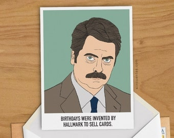 Nick Offerman Ron Swanson Greeting Card Parks and Recreation Illustration Ronald Ulysses Man Woman Gift Comedy Duke Silver Funny Boy Present
