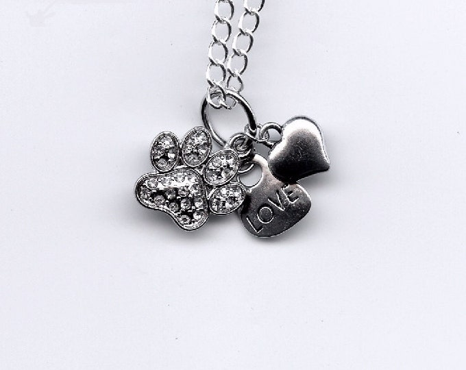 JEWELRY NECKLACE - PENDANT; cat charms, rhinestone kitty paw, word love, silver heart, girls gift, cat lover, pet loss