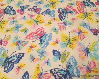 Flannel Fabric - Watercolor Butterflies - 1 yard - 100% Cotton Flannel