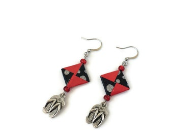 red and black earrings, tong charms, summer jewellry, origami jewell