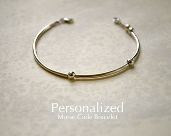 Personalized Morse Code Sterling Silver Beaded Name Bracelet