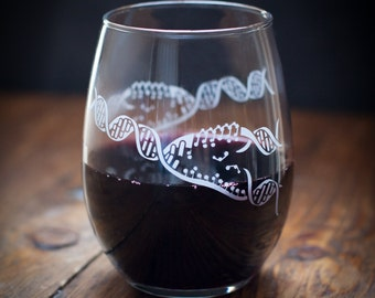 DNA Replication Stemless Wine Glass | Double Helix, Genetics Gift, Science, Microbiology, Cell Biology, Girlfriend gift, gift for him