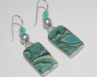 Polymer Clay Earrings. Mokume Gane Style Earrings. Dangle Earrings. Mokume Gane. Polymer Clay