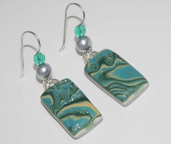 Mokume Gane Earrings: Polymer Clay Earrings. Mokume Gane Style Earrings. Dangle