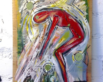 Original Figurative Abstract Painting On Recycled Wood Panel (British Female Artist)