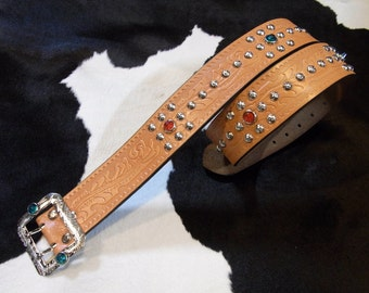 No.694 Handmade Vintage Reproduction Studded Jeweled Cowboy Western Belt