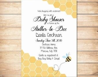 Printable honey bee baby shower invitation ** Mother to bee baby shower ** Bumble bee baby shower invitation