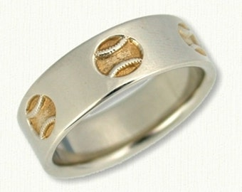 Custom Reverse Etch Baseball Wedding Band - 7.0 mm - Available In All Metals