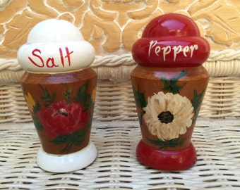 Vintage hand painted wooden salt and pepper shakers