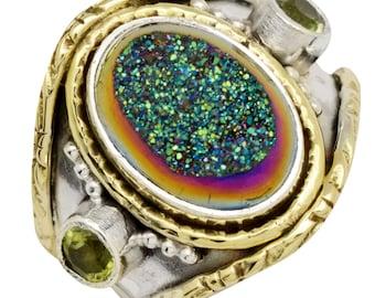 Green Titanium Druzy, Peridot Two Tone Ring 925 Silver Brass Jewelry Size 7.75 EBR1670