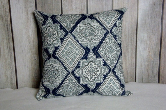 Blue Pillow. Pillow Cover. Accent Pillow. Pillow Covers, Cushion, Decorative Pillow, Vintage Indigo Blue White contemporary modern decor