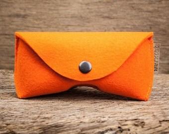 "glasses case felt ""Sichtschutz"" bright orange"
