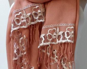 French Lace Pashmina in dark salmon dark peach Copper Bridesmaid shawls gifts Pashmina Women Wedding Bridal Shawls Trend Dark Salmon scarfs