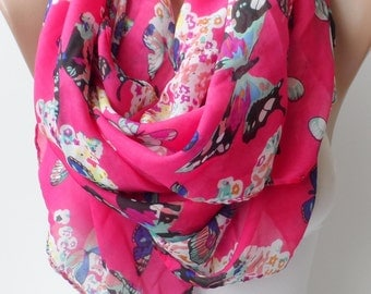 Hot pink soft light weight scarf Butterfly print scarf Chiffon scarf Elegant scarf Fashion Trend Women accessory Summer scarf Pareo
