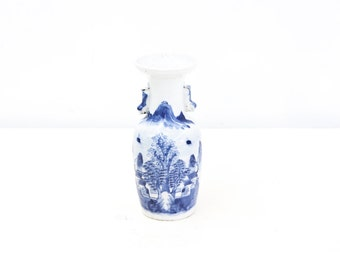 Chinese Blue and White Vase with Foo Dog Handles