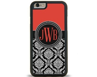 Damask Red Monogram Personalized iPhone Case, Monogram Personalized Galaxy Case