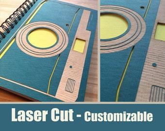 Camera Laser Cut Notebook Journal (Blue Cover)