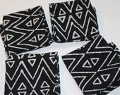 Black cloth napkins - natural eco friendly cotton dinner napkins - kalamkari fabric - set of 4 Handmade hostess gift