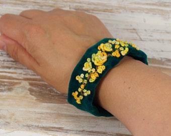 Bracelet, cuff, textile bracelet, Fabric Bracelets