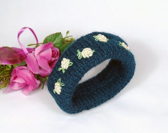 Knitted bracelet with embroidery, cuff, petrol colored bracelet with embroidery, gift for women,.