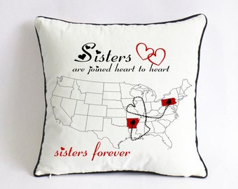 long distance sister pillow sham-custom big sister state gift-unique sister in law present-sisters are joined heart to heart-sister forever