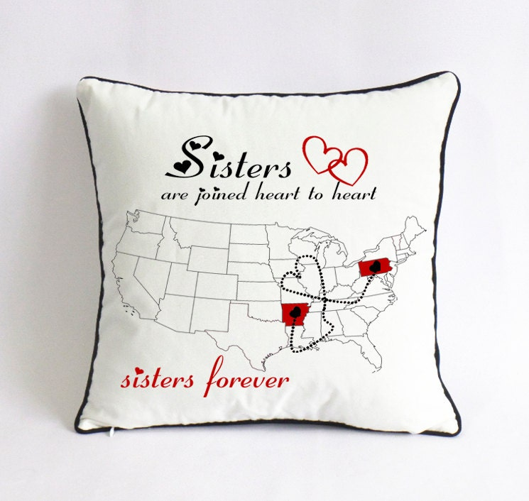 long distance sister pillow sham-custom big sister state