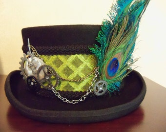 Steampunk Top Hat, Green Top Hat, Wool Top Hat, Mad Hatter, Victorian Top Hat, Black Top Hat, Grey Ghost Toppers