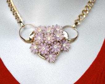 Lavender Thermoplastic Floral Assemblage Necklace Vintage Components