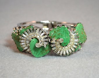 Hobe' Mayorka Petal and Rhinestone Clamper Bracelet Vintage