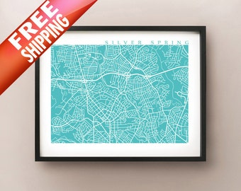 Silver Spring Map - Maryland, USA Art Poster Print
