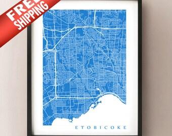 Etobicoke Map Print