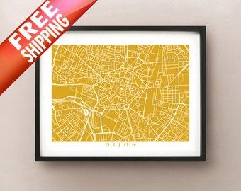 Dijon Map Print - France Art Poster