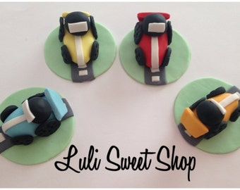 12 Fondant cars many colors for cupcake toppers