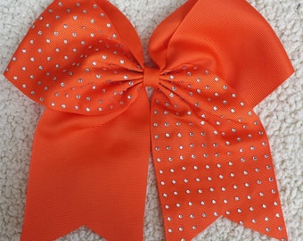 Cheer Bow/ Cheerleader Bow/ Cheerleading Bow/ Cheerleader Gift/ Hair Bow/ Bow/ Half Rhinestone Orange Cheer Bow Cheerleading Cheerleader